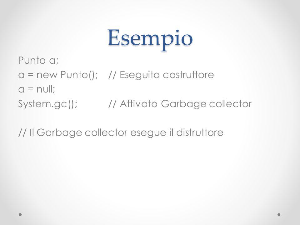 Esempio Punto a; a = new Punto();// Eseguito costruttore a = null; System.gc();// Attivato Garbage collector // Il Garbage collector esegue il distrut