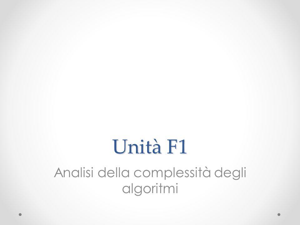 Unità F1 Analisi della complessità degli algoritmi