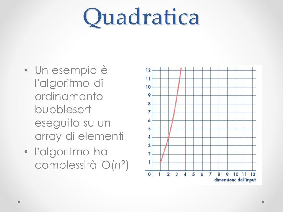 Quadratica Un esempio è l algoritmo di ordinamento bubblesort eseguito su un array di elementi l algoritmo ha complessità O(n 2 )