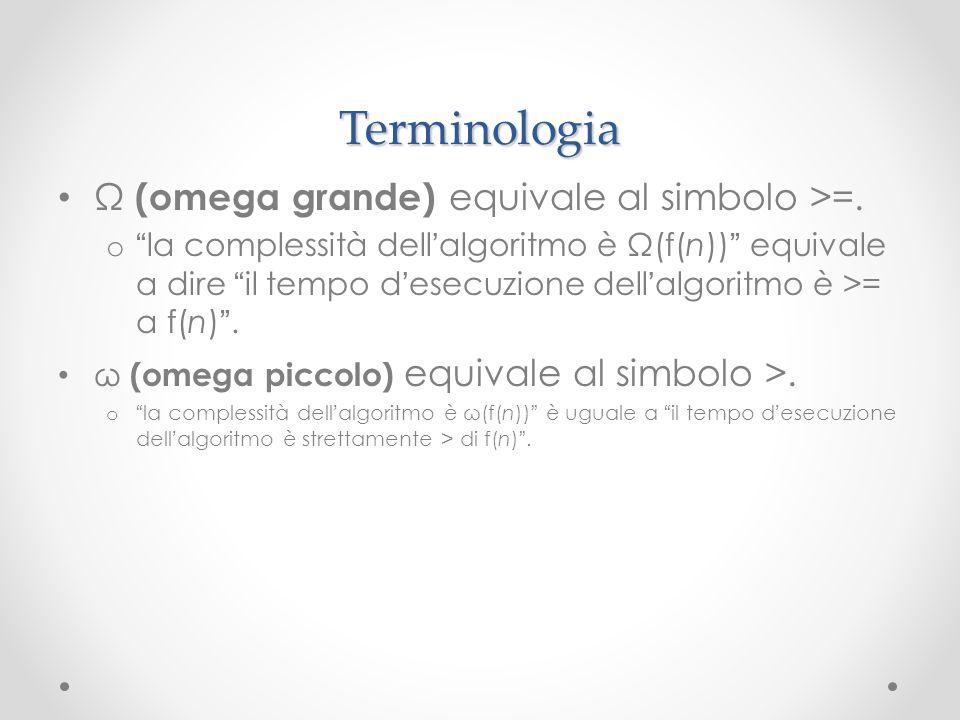 Terminologia Ω (omega grande) equivale al simbolo >=. o la complessità dell algoritmo è Ω(f(n)) equivale a dire il tempo d esecuzione dell algoritmo è