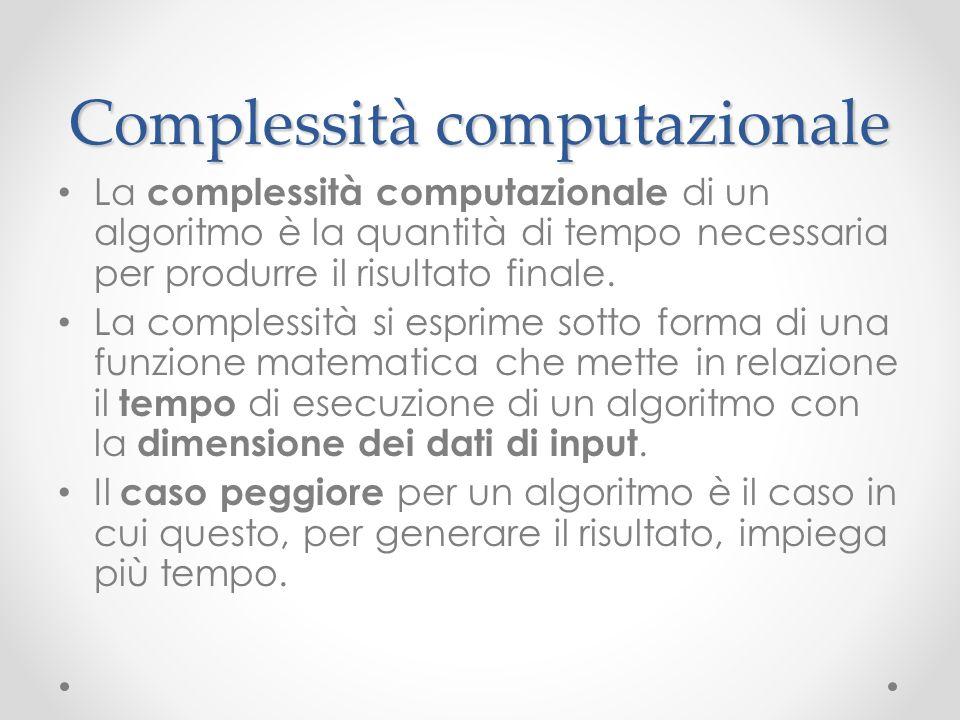 Complessità computazionale La complessità computazionale di un algoritmo è la quantità di tempo necessaria per produrre il risultato finale. La comple