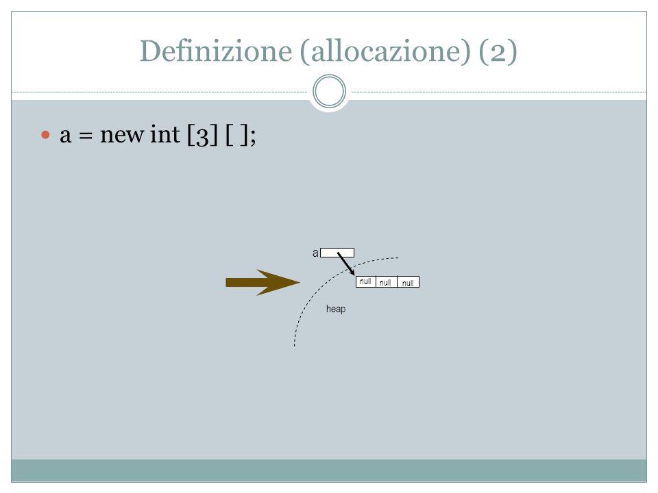 Definizione (allocazione) (2) a = new int [3] [ ]; a heap null