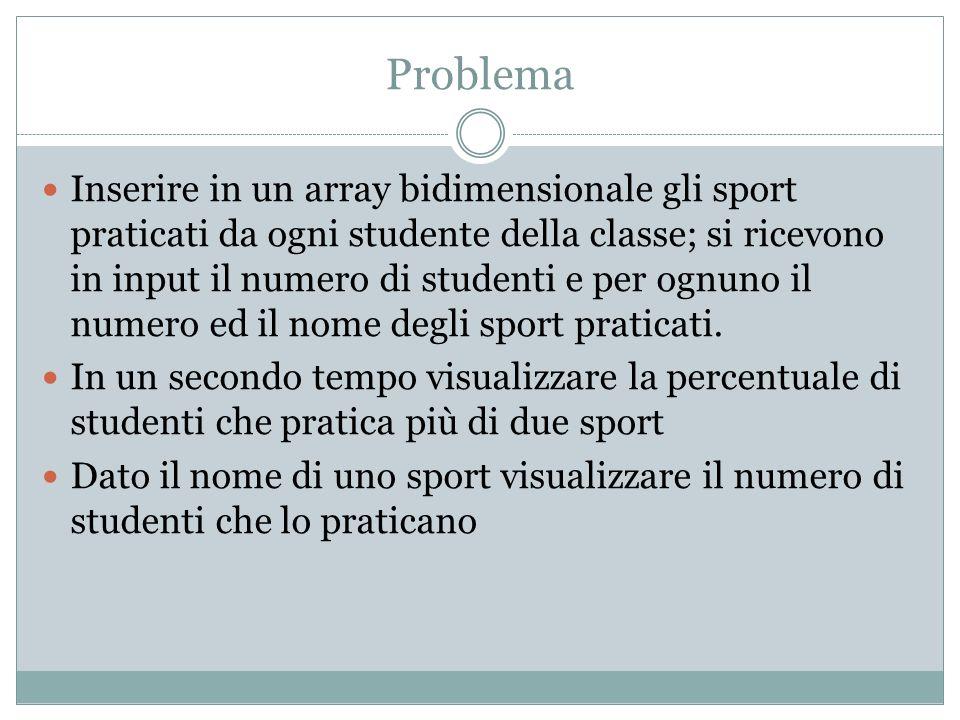 Problema Inserire in un array bidimensionale gli sport praticati da ogni studente della classe; si ricevono in input il numero di studenti e per ognuno il numero ed il nome degli sport praticati.