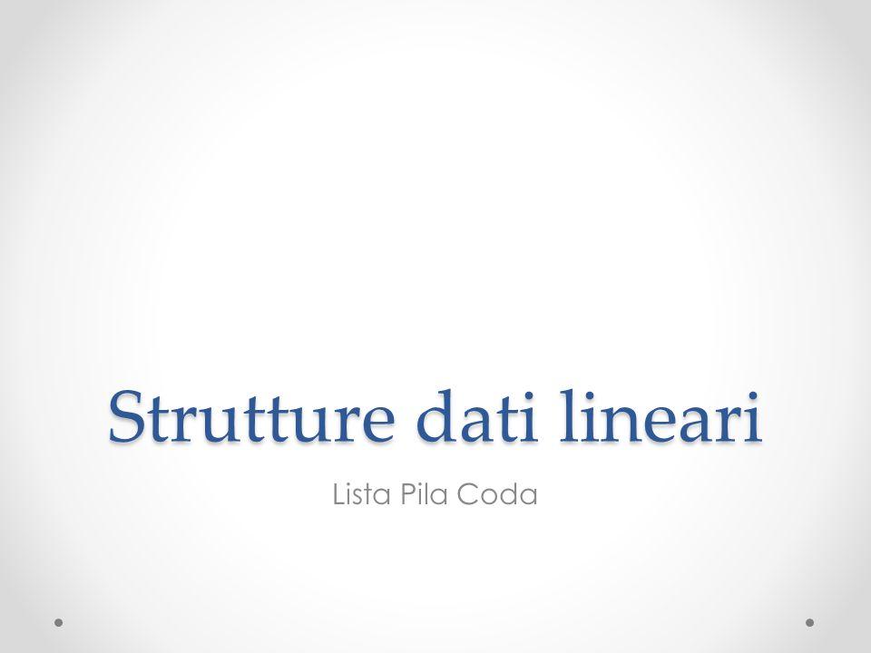 Strutture dati lineari Lista Pila Coda