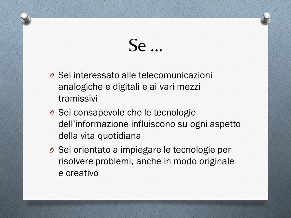 Se … O Sei interessato alle telecomunicazioni analogiche e digitali e ai vari mezzi tramissivi O Sei consapevole che le tecnologie dellinformazione in