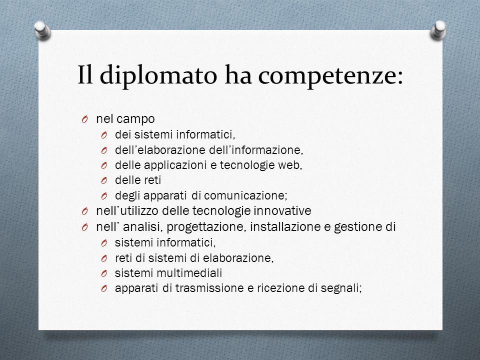 Il diplomato ha competenze: O nel campo O dei sistemi informatici, O dellelaborazione dellinformazione, O delle applicazioni e tecnologie web, O delle