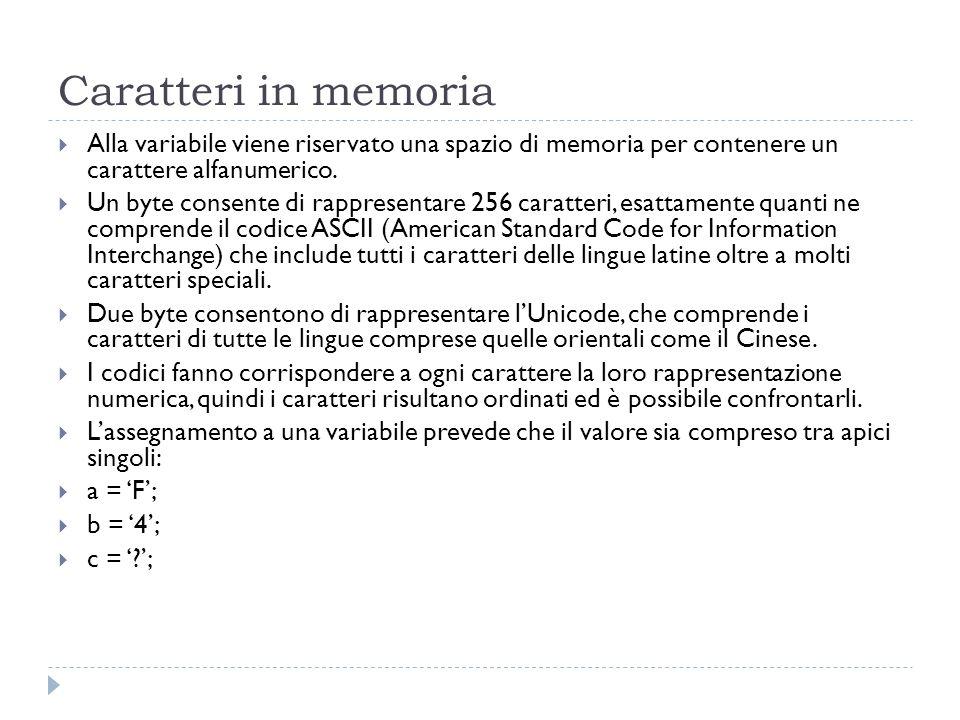 Caratteri in memoria Alla variabile viene riservato una spazio di memoria per contenere un carattere alfanumerico. Un byte consente di rappresentare 2