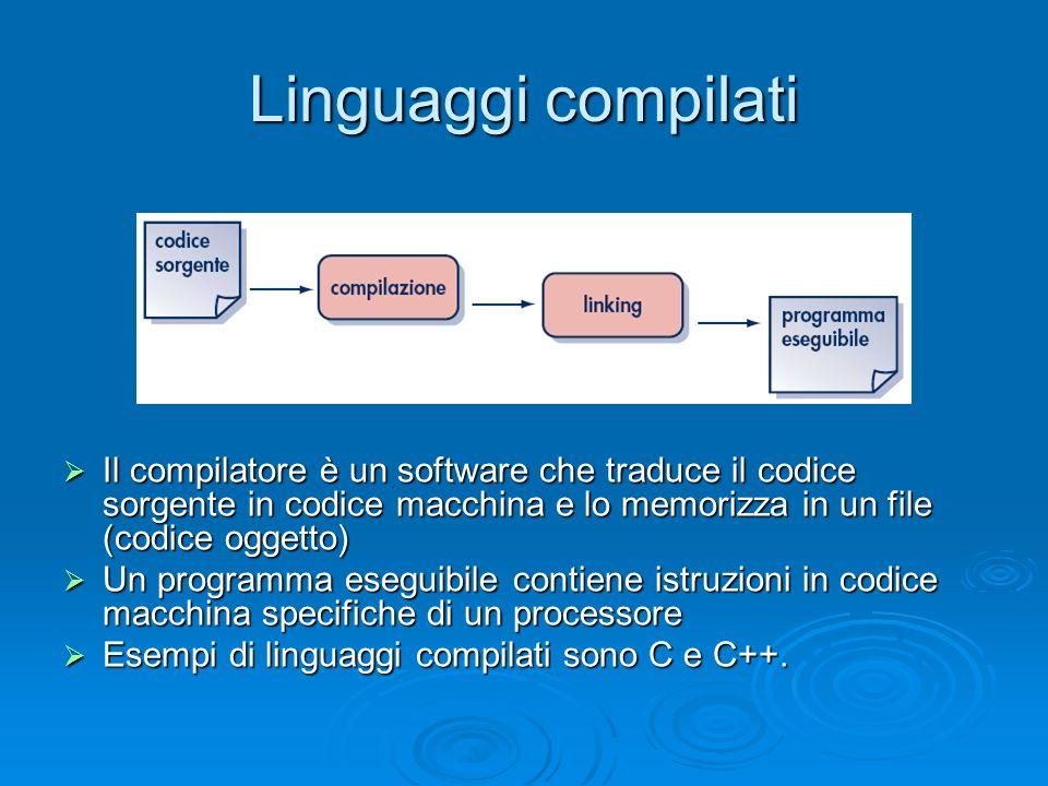 Linguaggi interpretati Il programma viene eseguito direttamente da un software (interprete) che esegue le istruzioni in codice macchina necessarie per le funzionalità richieste.