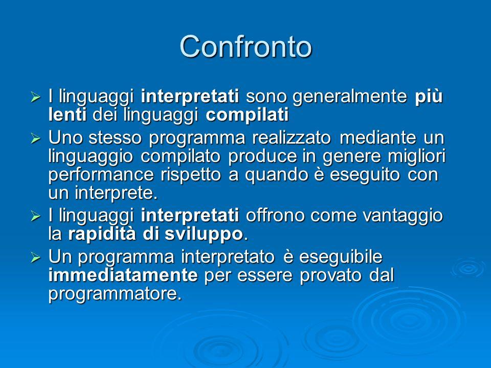 I nuovi linguaggi (compilati e interpretati) I linguaggi di programmazione più recenti (Java e i linguaggi della piattaforma.NET) sono sia compilato che interpretato I linguaggi di programmazione più recenti (Java e i linguaggi della piattaforma.NET) sono sia compilato che interpretato I file che contengono il codice sorgente di un programma sono compilati I file che contengono il codice sorgente di un programma sono compilati Il file compilato non contiene codice oggetto specifico di un determinato processore ma un di un processore virtuale (linguaggio intermedio) Il file compilato non contiene codice oggetto specifico di un determinato processore ma un di un processore virtuale (linguaggio intermedio) Per eseguire il programma compilato è necessario un interprete, che traduca il codice oggetto (del processore virtuale) in istruzioni del processore reale (Java Virtual Machine, Framework.NET) Per eseguire il programma compilato è necessario un interprete, che traduca il codice oggetto (del processore virtuale) in istruzioni del processore reale (Java Virtual Machine, Framework.NET)