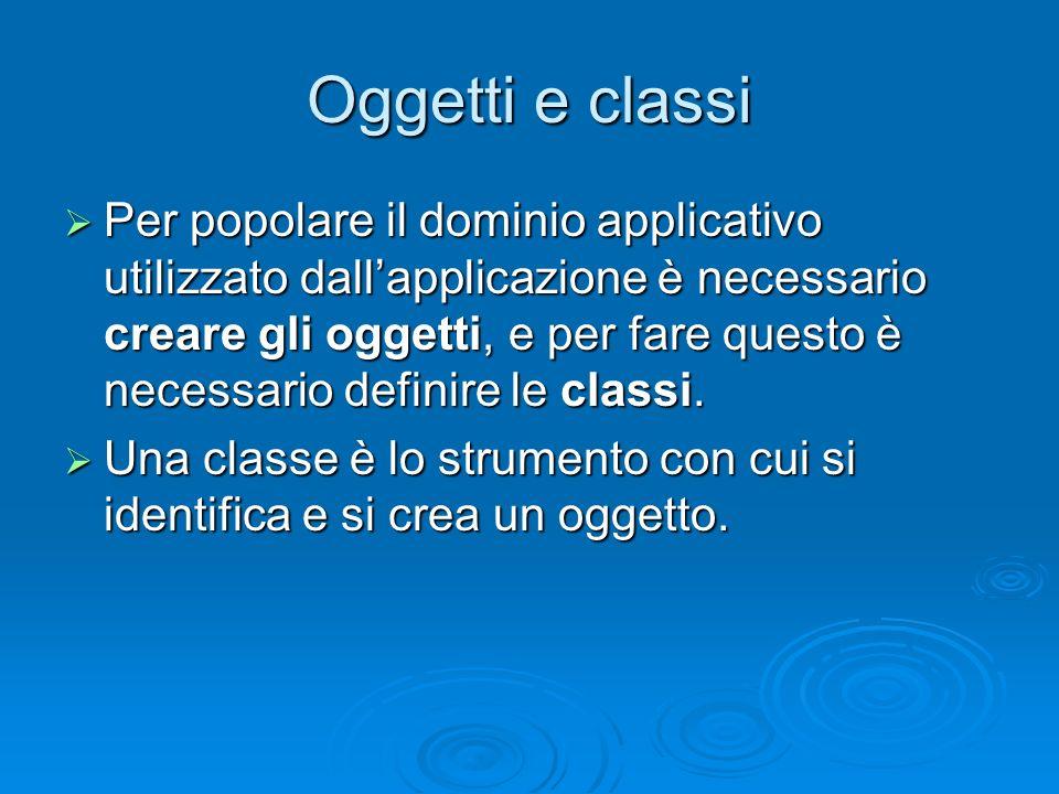 Classi e tipi di dato Una classe è a tutti gli effetti un tipo di dato (come gli interi e le stringhe e ogni altro tipo già definito) Una classe è a tutti gli effetti un tipo di dato (come gli interi e le stringhe e ogni altro tipo già definito) Nella programmazione orientata agli oggetti, è quindi possibile sia utilizzare tipi di dato esistenti, sia definirne di nuovi tramite le classi Nella programmazione orientata agli oggetti, è quindi possibile sia utilizzare tipi di dato esistenti, sia definirne di nuovi tramite le classi