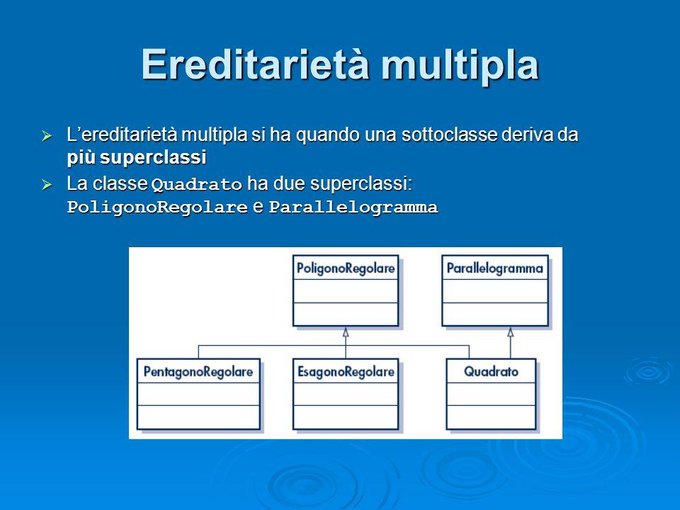 Ereditarietà multipla Lereditarietà multipla si ha quando una sottoclasse deriva da più superclassi Lereditarietà multipla si ha quando una sottoclass