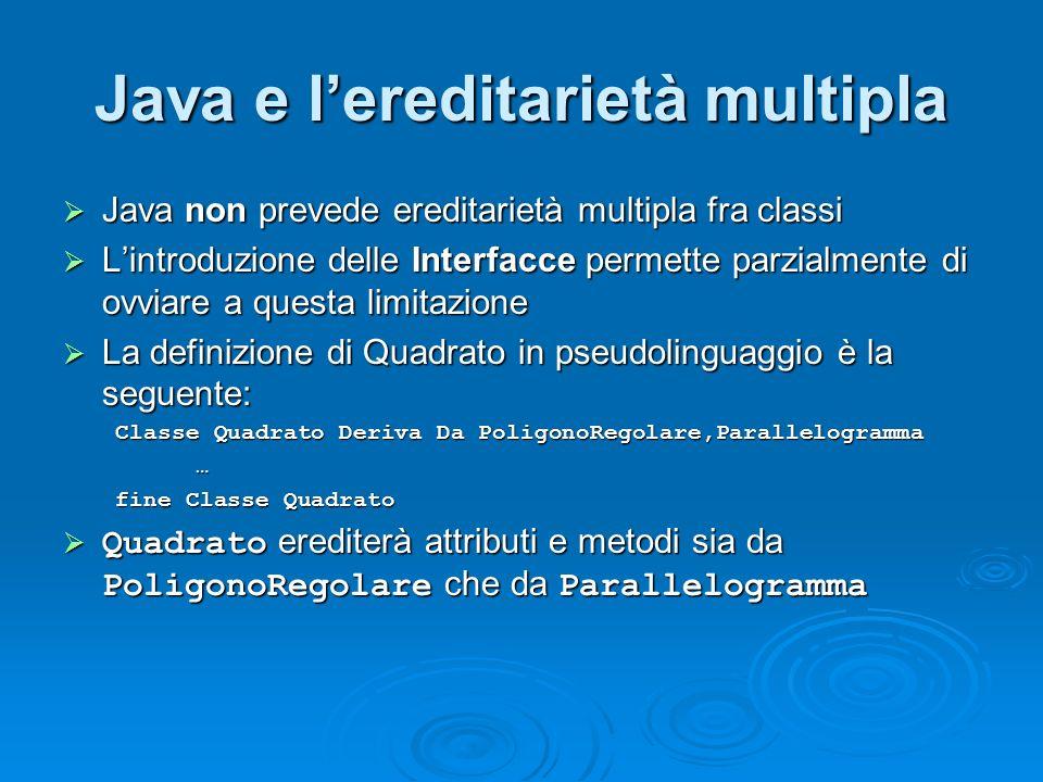 Java e lereditarietà multipla Java non prevede ereditarietà multipla fra classi Java non prevede ereditarietà multipla fra classi Lintroduzione delle