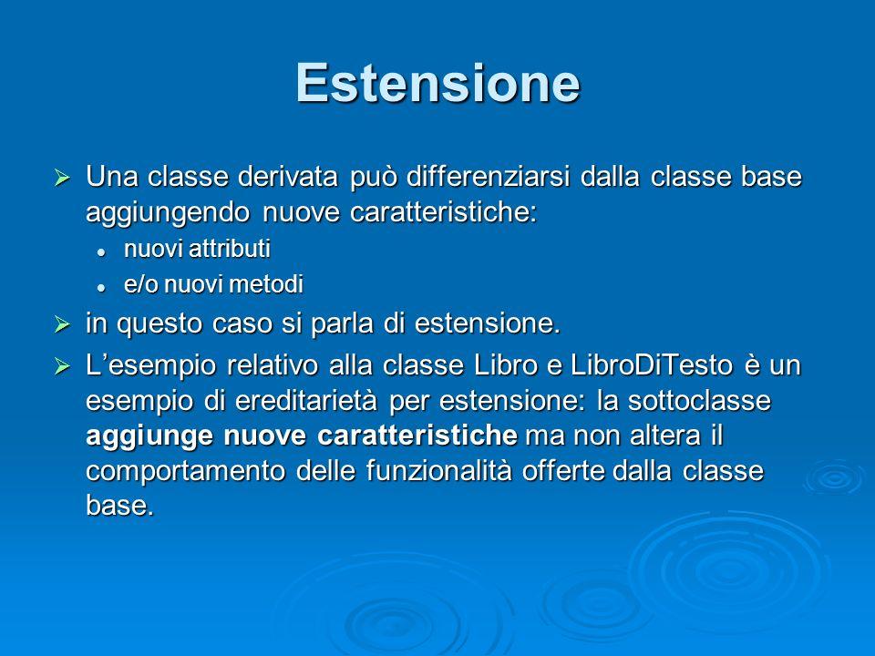 Estensione Una classe derivata può differenziarsi dalla classe base aggiungendo nuove caratteristiche: Una classe derivata può differenziarsi dalla cl