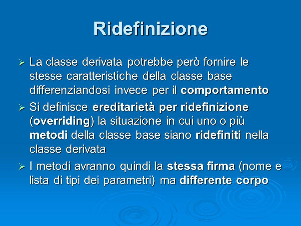 Ridefinizione La classe derivata potrebbe però fornire le stesse caratteristiche della classe base differenziandosi invece per il comportamento La cla