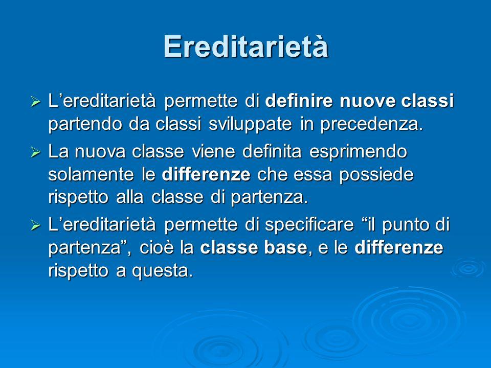 Ereditarietà Lereditarietà permette di definire nuove classi partendo da classi sviluppate in precedenza. Lereditarietà permette di definire nuove cla
