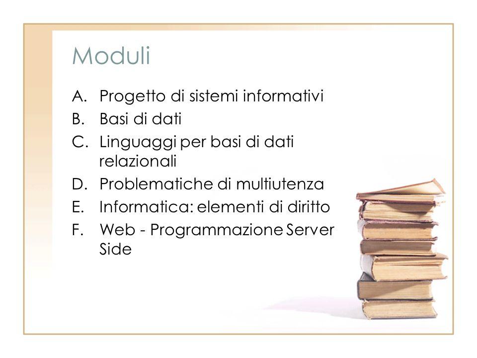 Moduli A.Progetto di sistemi informativi B.Basi di dati C.Linguaggi per basi di dati relazionali D.Problematiche di multiutenza E.Informatica: elementi di diritto F.Web - Programmazione Server Side