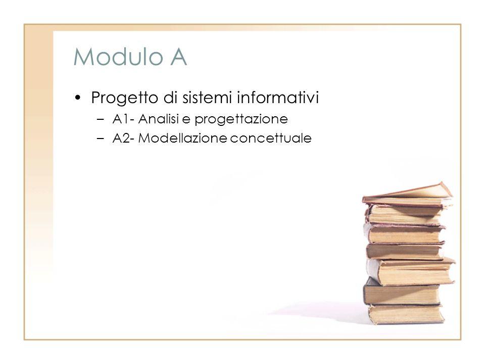 Modulo A Progetto di sistemi informativi –A1- Analisi e progettazione –A2- Modellazione concettuale