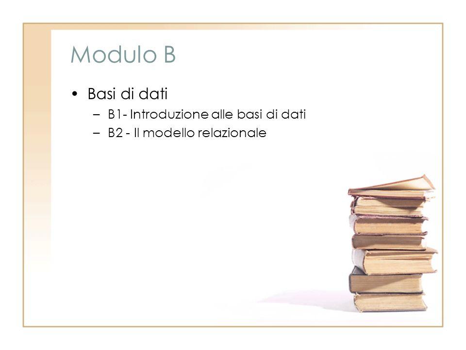 Modulo B Basi di dati –B1- Introduzione alle basi di dati –B2 - Il modello relazionale