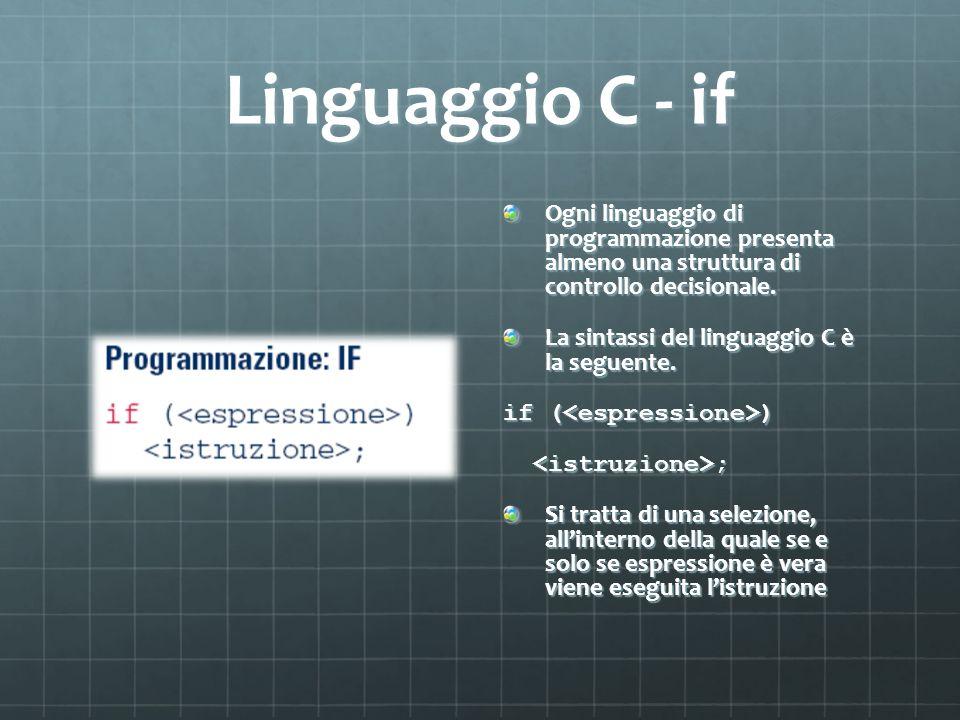 Linguaggio C - if Ogni linguaggio di programmazione presenta almeno una struttura di controllo decisionale. La sintassi del linguaggio C è la seguente