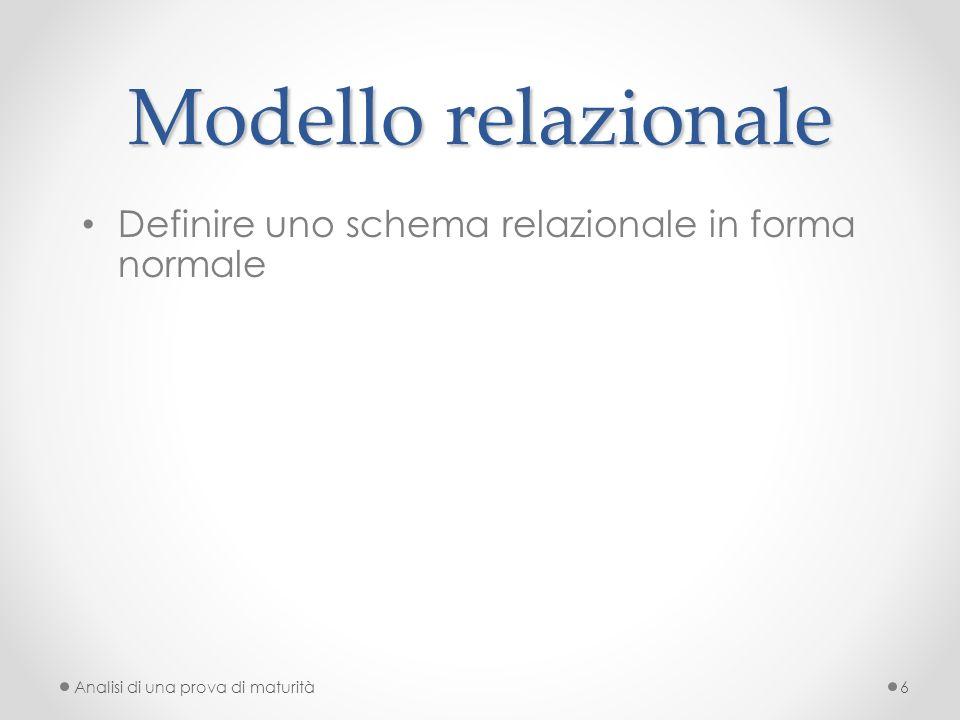 Modello relazionale Definire uno schema relazionale in forma normale Analisi di una prova di maturità6