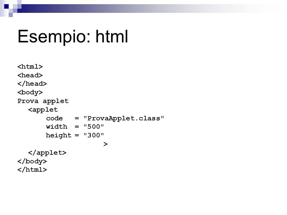 Esempio: html Prova applet <applet code=