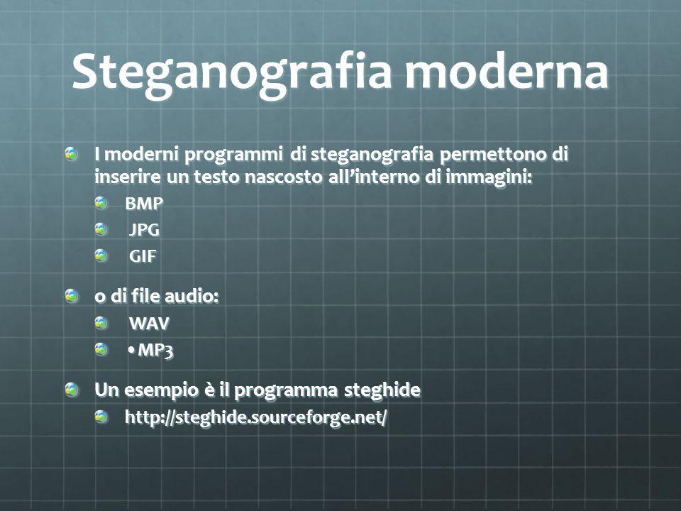 Steganografia moderna I moderni programmi di steganografia permettono di inserire un testo nascosto allinterno di immagini: BMP JPG JPG GIF GIF o di f