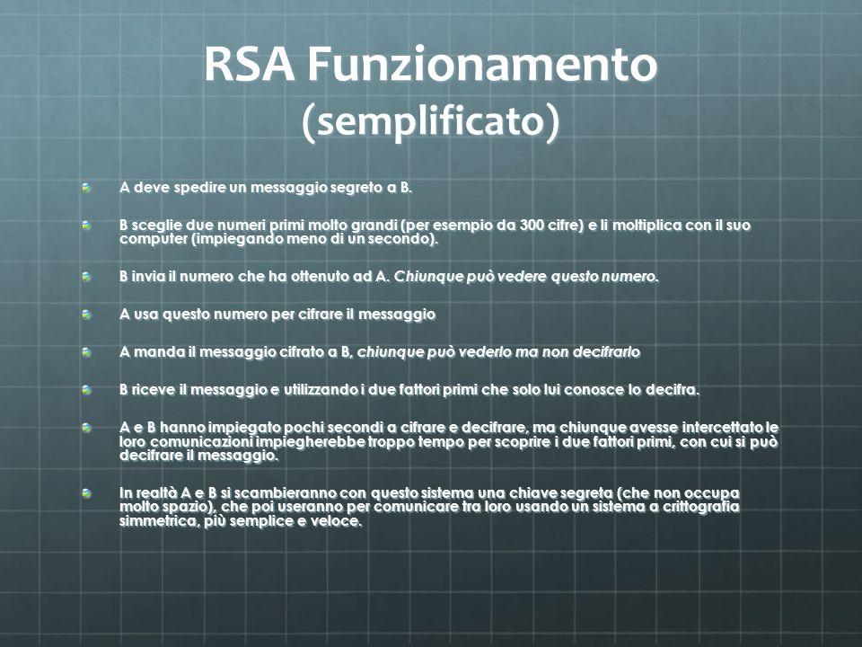 RSA Funzionamento (semplificato) A deve spedire un messaggio segreto a B. B sceglie due numeri primi molto grandi (per esempio da 300 cifre) e li molt