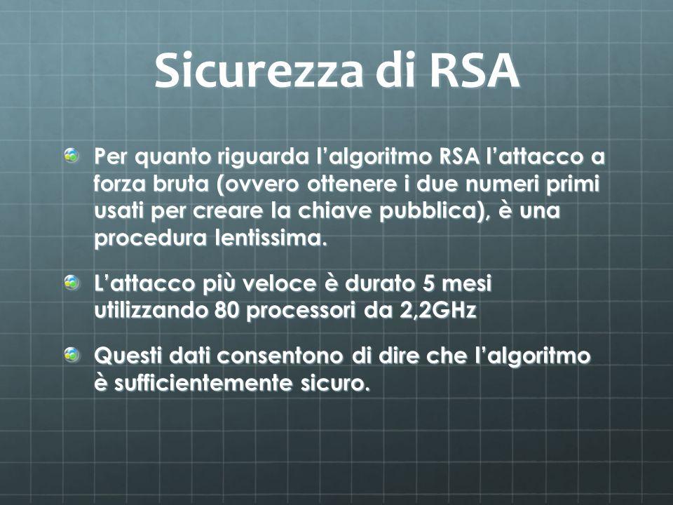 Sicurezza di RSA Per quanto riguarda lalgoritmo RSA lattacco a forza bruta (ovvero ottenere i due numeri primi usati per creare la chiave pubblica), è