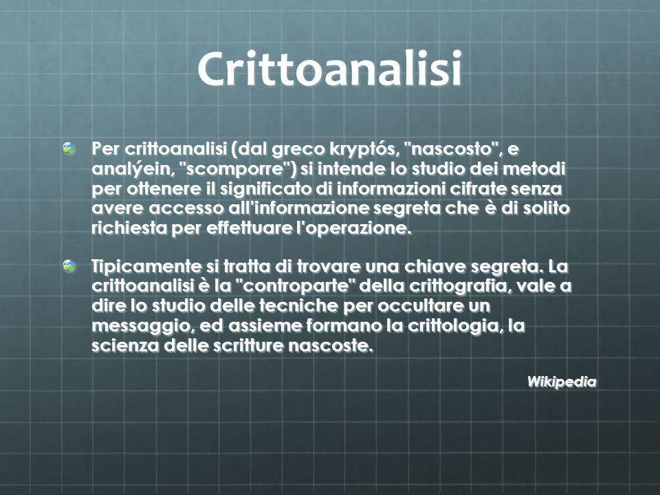 Crittoanalisi Per crittoanalisi (dal greco kryptós,