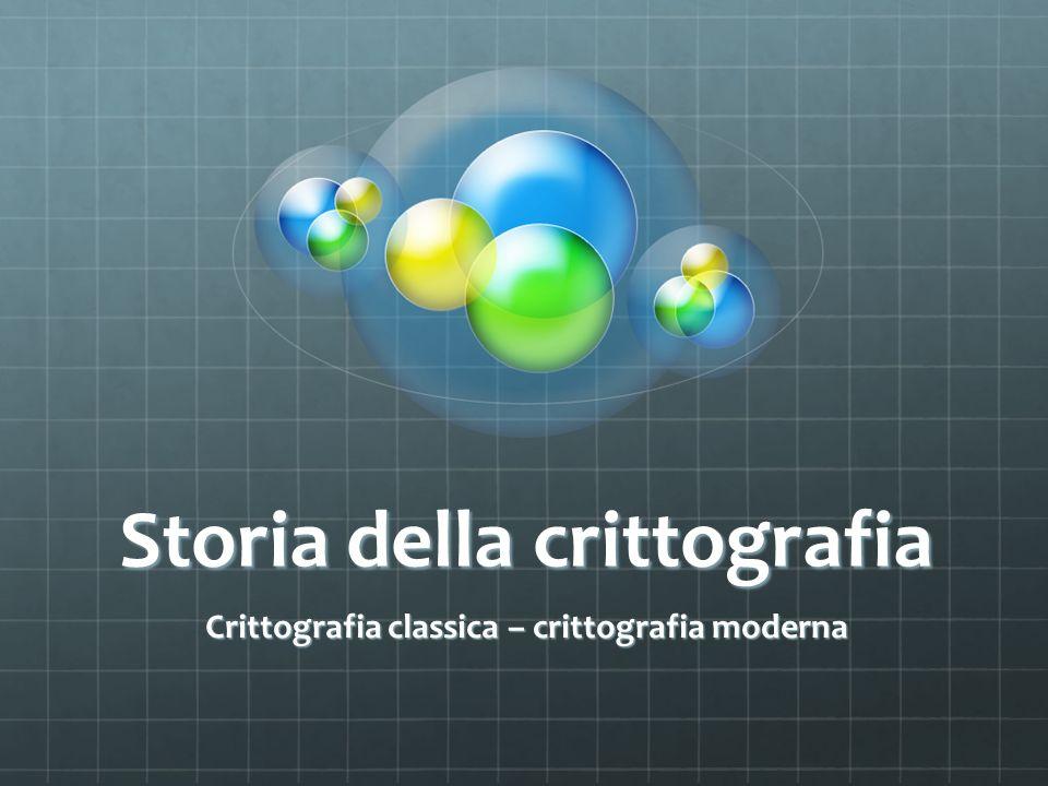 Storia della crittografia Crittografia classica – crittografia moderna