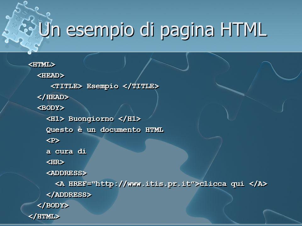 Un esempio di pagina HTML Esempio Buongiorno Questo è un documento HTML a cura di clicca qui Esempio Buongiorno Questo è un documento HTML a cura di clicca qui