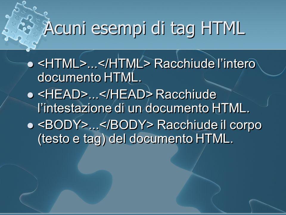 Acuni esempi di tag HTML... Racchiude lintero documento HTML....