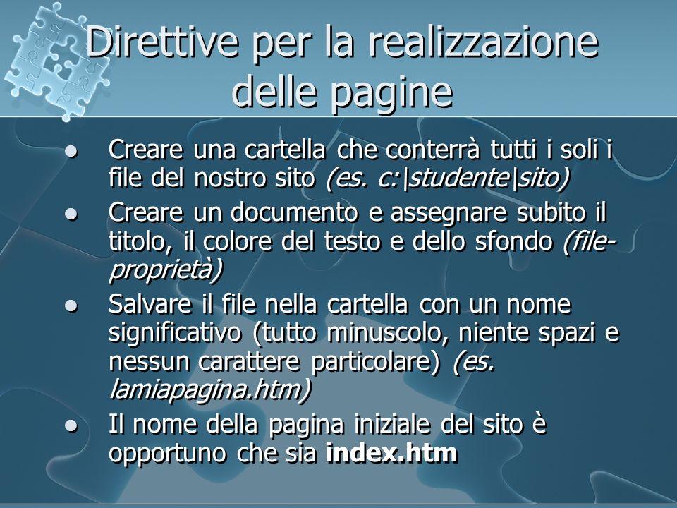 Direttive per la realizzazione delle pagine Creare una cartella che conterrà tutti i soli i file del nostro sito (es.