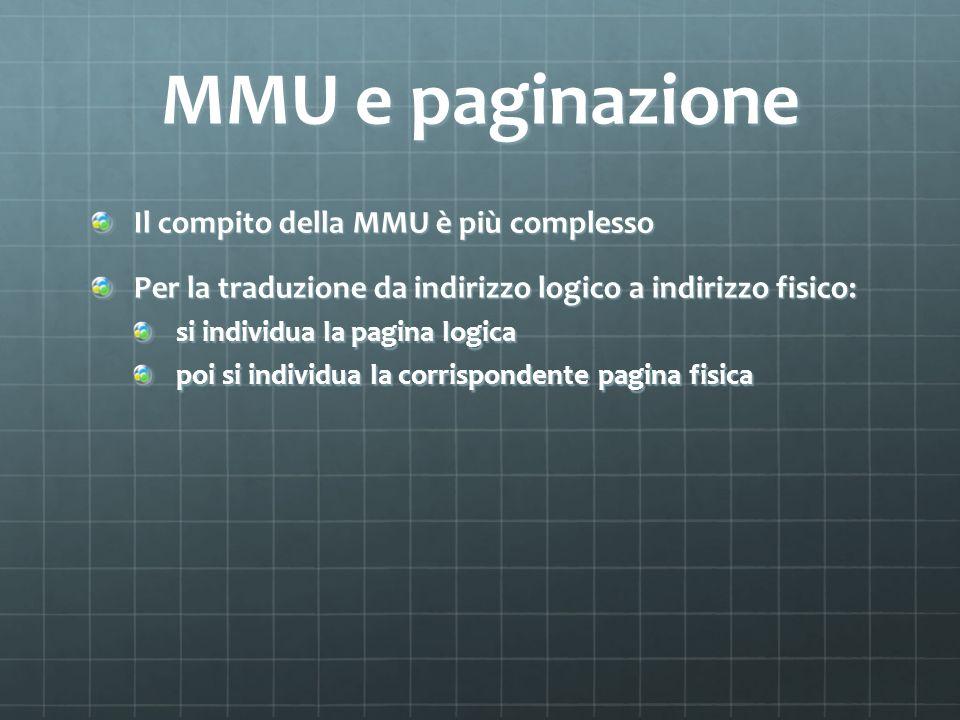 MMU e paginazione Il compito della MMU è più complesso Per la traduzione da indirizzo logico a indirizzo fisico: si individua la pagina logica poi si