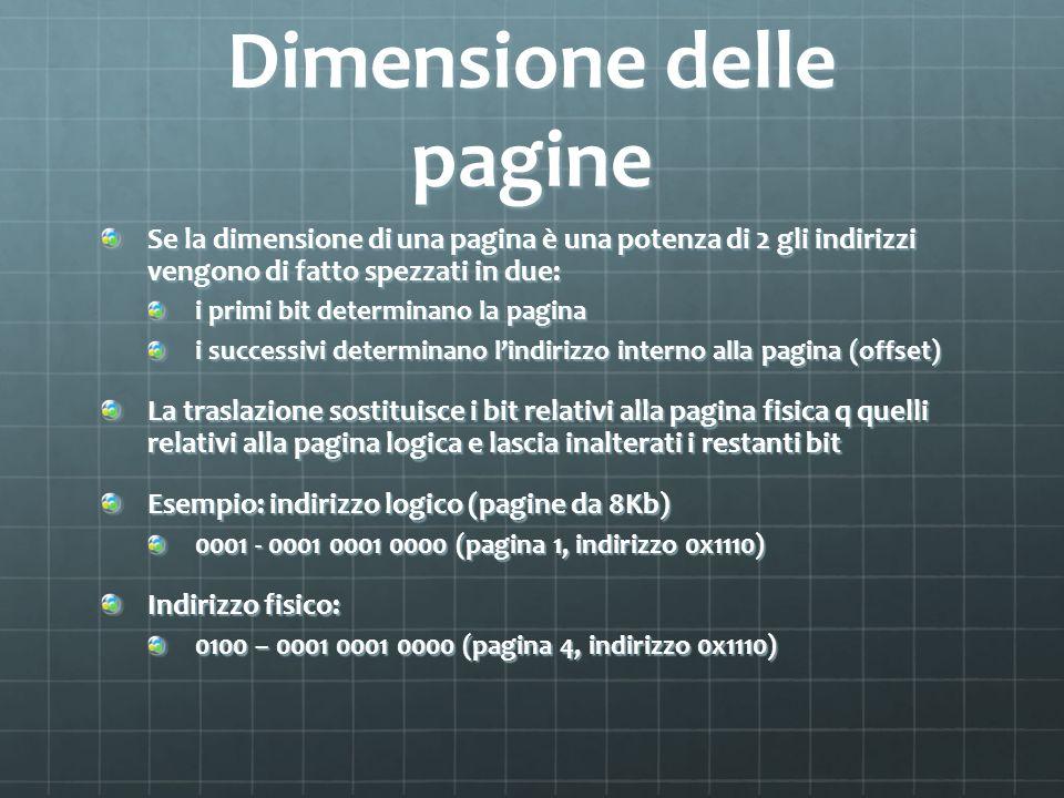 Dimensione delle pagine Se la dimensione di una pagina è una potenza di 2 gli indirizzi vengono di fatto spezzati in due: i primi bit determinano la p