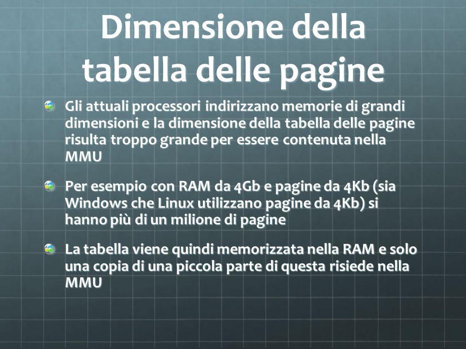 Dimensione della tabella delle pagine Gli attuali processori indirizzano memorie di grandi dimensioni e la dimensione della tabella delle pagine risul
