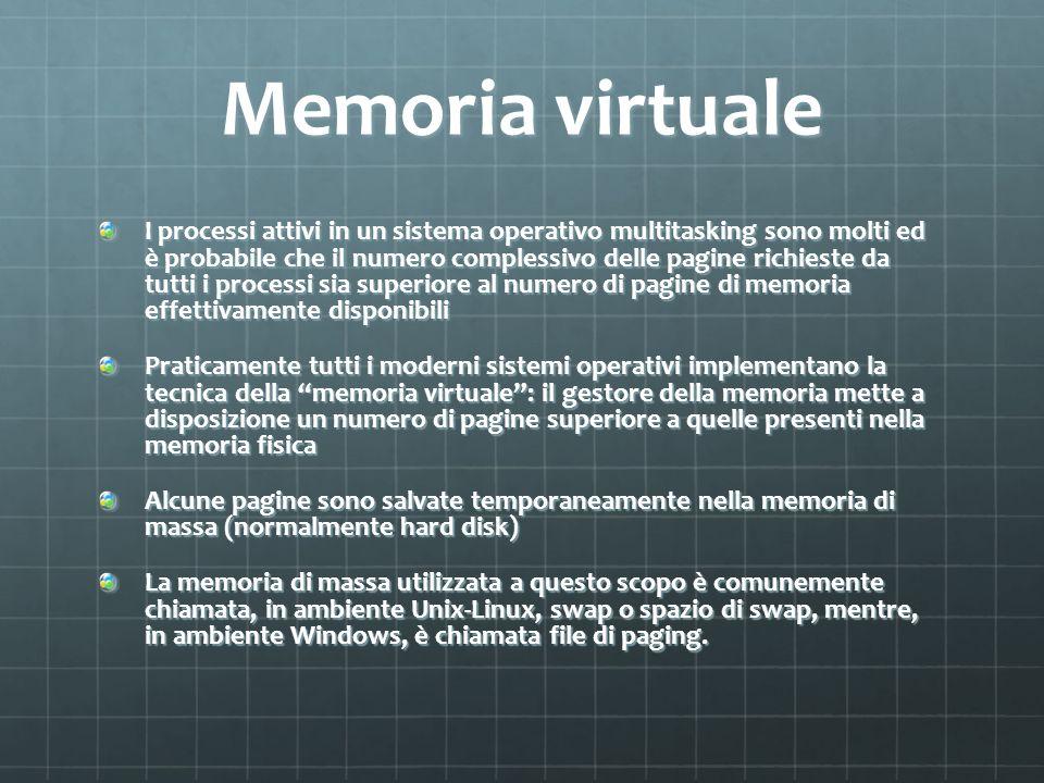 Memoria virtuale I processi attivi in un sistema operativo multitasking sono molti ed è probabile che il numero complessivo delle pagine richieste da
