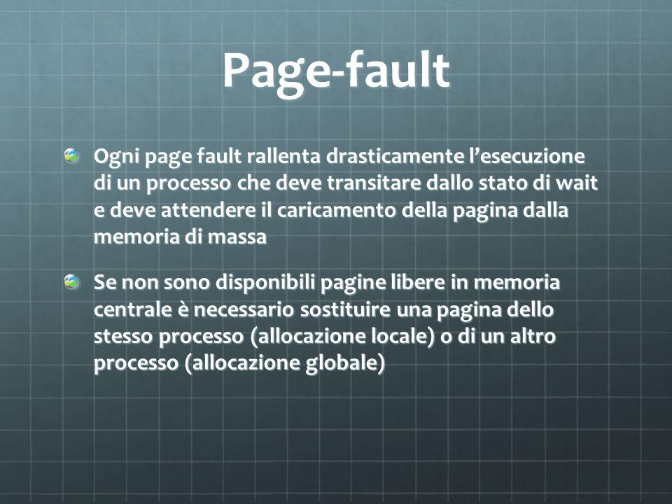 Page-fault Ogni page fault rallenta drasticamente lesecuzione di un processo che deve transitare dallo stato di wait e deve attendere il caricamento d