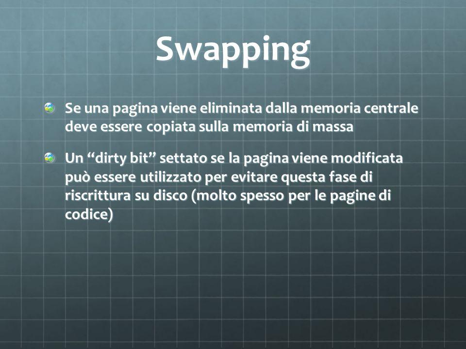 Swapping Se una pagina viene eliminata dalla memoria centrale deve essere copiata sulla memoria di massa Un dirty bit settato se la pagina viene modif