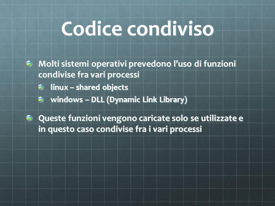 Codice condiviso Molti sistemi operativi prevedono luso di funzioni condivise fra vari processi linux – shared objects windows – DLL (Dynamic Link Lib