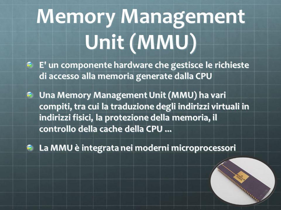 Memory Management Unit (MMU) E' un componente hardware che gestisce le richieste di accesso alla memoria generate dalla CPU Una Memory Management Unit