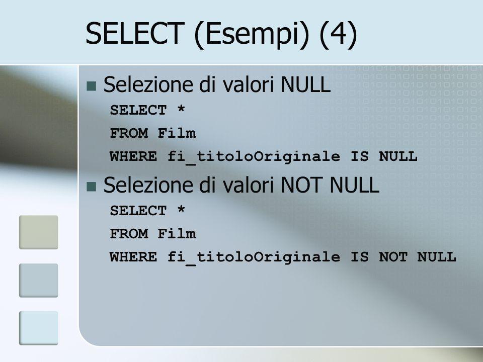 Unione di due tabelle SELECT fi_titolo, fi_regia FROM Film WHERE Film.fi_regia= Fellini Federico UNION SELECT fi_titolo, fi_regia FROM Film INNER JOIN Premio ON Premio.pr_film = Film.fi_codice WHERE Premio.pr_anno= 1975