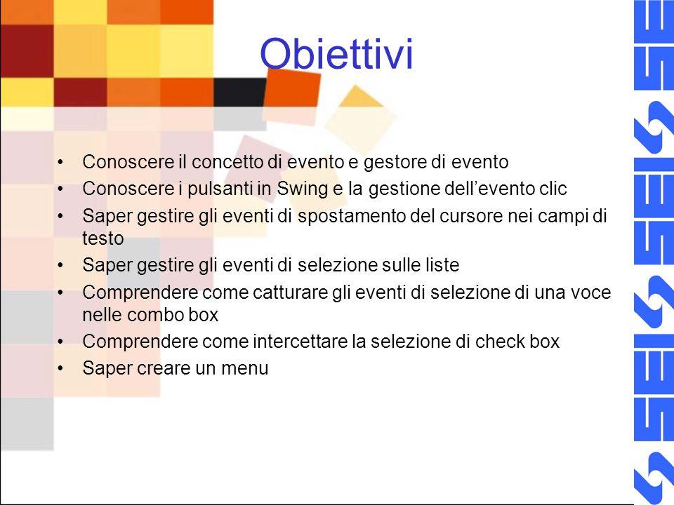 Menu Un menu è costituito da tre elementi fondamentali: –JMenuBar (barra del menu) –JMenu (singolo menu) –JMenuItem (singola voce di menu, a cui viene associata una descrizione, eventualmente unicona e un gestore di evento di selezione.