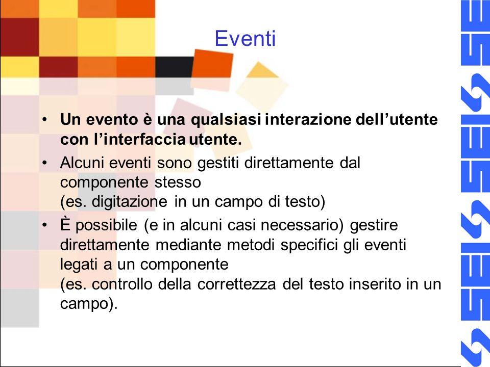 Eventi Un evento è una qualsiasi interazione dellutente con linterfaccia utente.