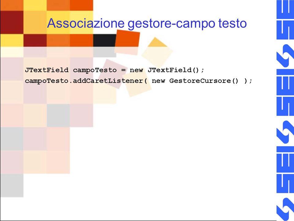Associazione gestore-campo testo JTextField campoTesto = new JTextField(); campoTesto.addCaretListener( new GestoreCursore() );