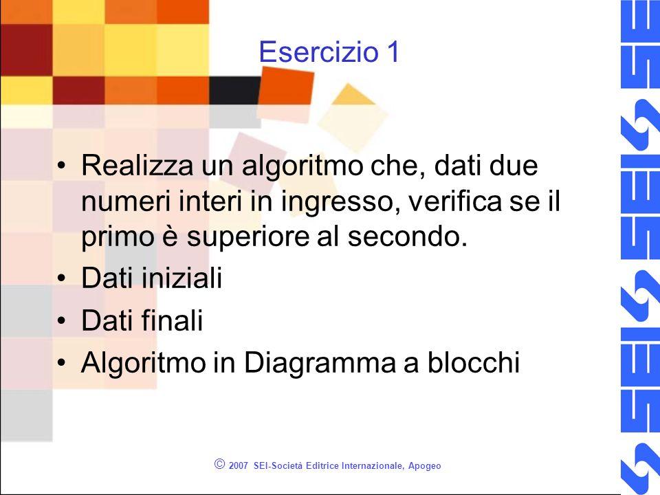 © 2007 SEI-Società Editrice Internazionale, Apogeo Esercizio 1 Realizza un algoritmo che, dati due numeri interi in ingresso, verifica se il primo è superiore al secondo.