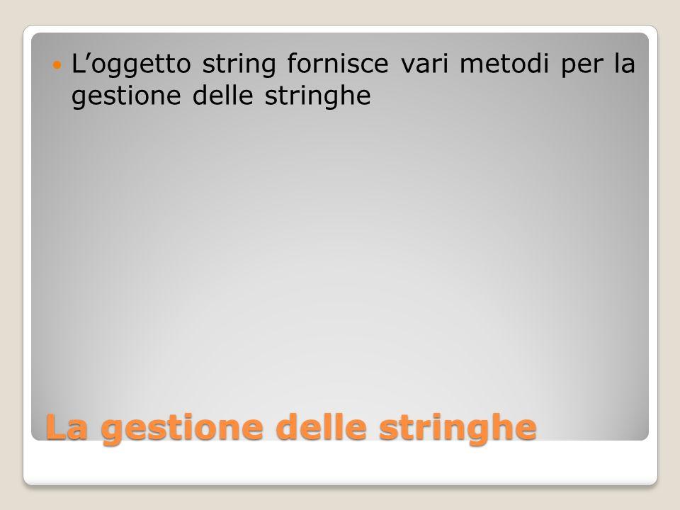 La gestione delle stringhe Loggetto string fornisce vari metodi per la gestione delle stringhe