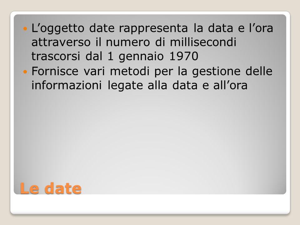 Le date Loggetto date rappresenta la data e lora attraverso il numero di millisecondi trascorsi dal 1 gennaio 1970 Fornisce vari metodi per la gestione delle informazioni legate alla data e allora