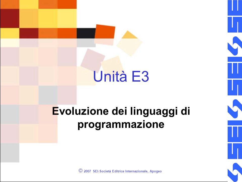 © 2007 SEI-Società Editrice Internazionale, Apogeo Unità E3 Evoluzione dei linguaggi di programmazione