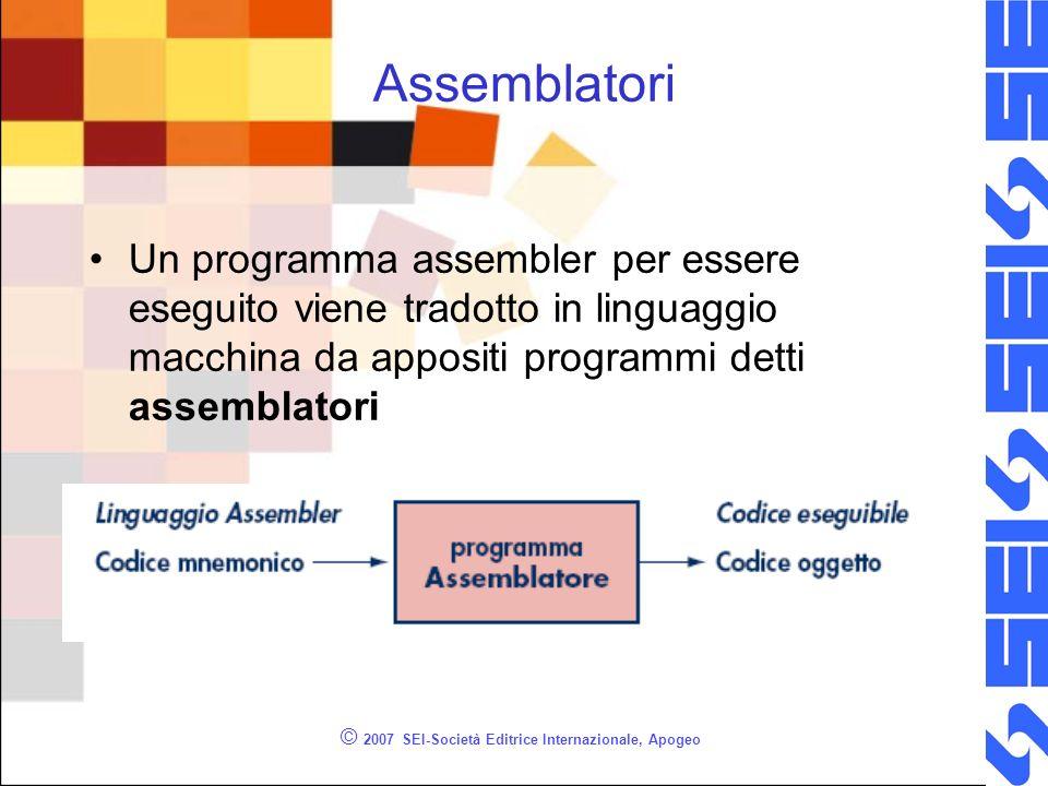 © 2007 SEI-Società Editrice Internazionale, Apogeo Assemblatori Un programma assembler per essere eseguito viene tradotto in linguaggio macchina da appositi programmi detti assemblatori